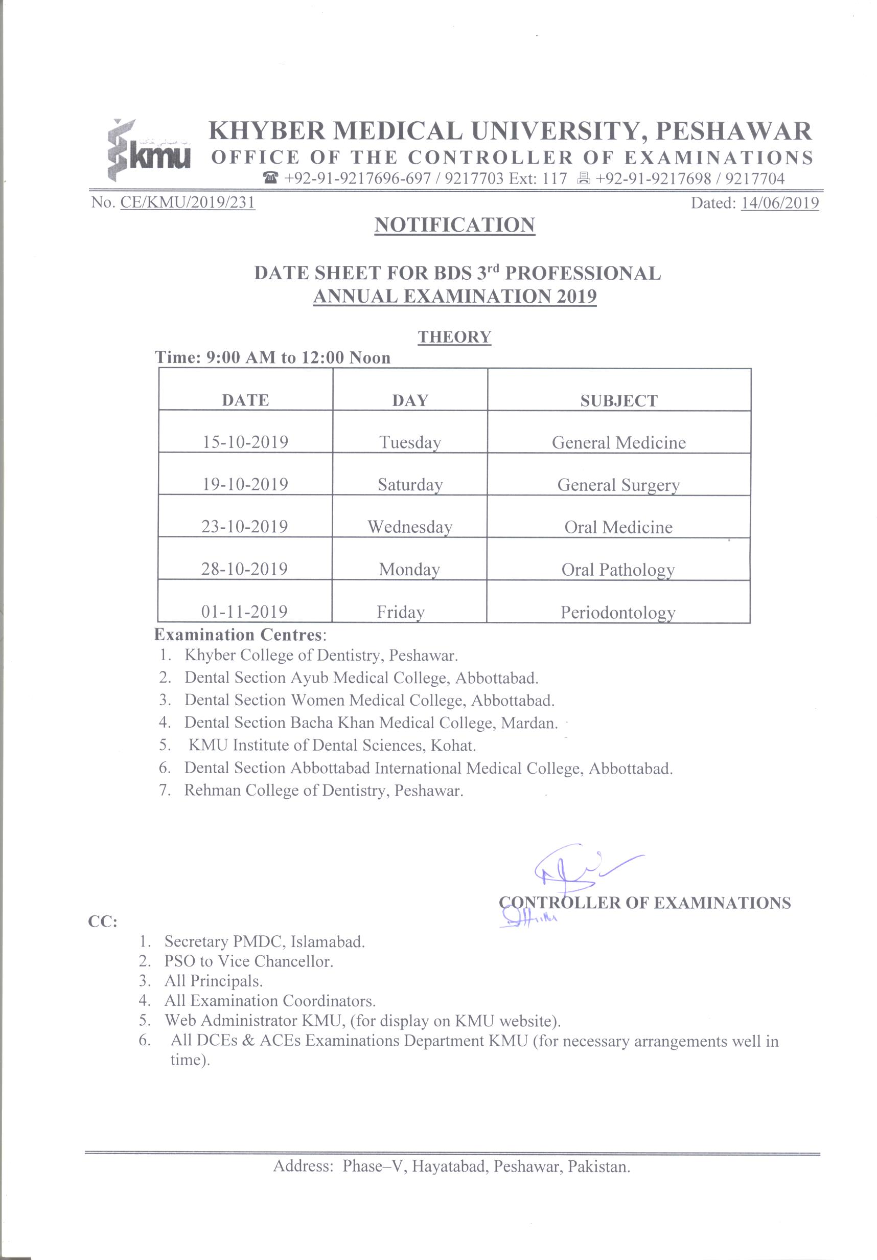 Date Sheets | Khyber Medical University