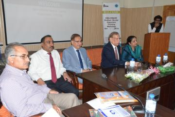 01.President PMDC Justice Rtd Miaan Shakir ullah Jan along with VC KMU Prof Dr Arshad Javaid talking to the 2 days PMDC Inspectors Training Workshop (Custom)1540879237.JPG