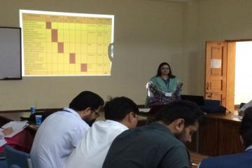 Dr Brekhna Jamil, Coordinator & Asst Prof IHPE&R explaining Table of specifications and blueprint of assessment.